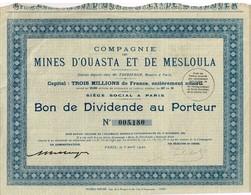 Action Ancienne -Cie Des Mines D' Ouasta Et De Mesloula - Titre De 1942 - - Afrique