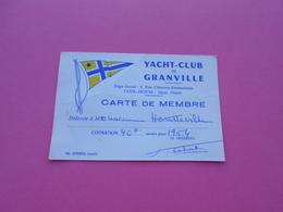 Yacht Club De Granville   Carte De Membre  1964 - Unclassified