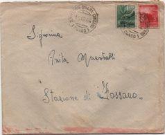 Democratica £. 1 + £. 3 Su Busta Con Annullo Santa Vittoria D'Alba Cinzano (Cuneo) 15.12.1946 - 1946-60: Marcophilie