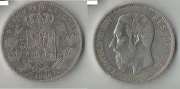 BELGIQUE 5 FRANCS 1868 ARGENT - 1865-1909: Leopold II