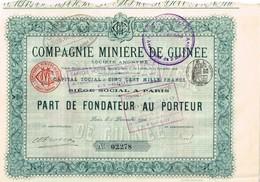 Action Ancienne - Cie Minière De Guinée - Titre De 1906 - - Afrique