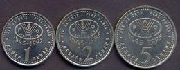 Macedonia 1 + 2 + 5 Denars 1995 UNC FAO SET (3 Coins) - Macédoine