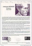 """Document Philatélique Officiel N° 09-87 """" JACQUES MONOD, NOBEL DE BIOLOGIE """" N° YT 2459. Parf état ! DPO - Documents De La Poste"""