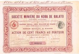 Action Ancienne - Sté Minière Du Koba De Balato - Titre De 1908 - - Afrique