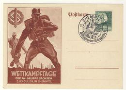 Sonderstempel Wettkampftage SA Sachsen Chemnitz Juli 1938 Auf Karte Mit Zudruck / Nicht Beschrieben - Germania