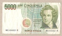 "Italia - Banconota Circolata Da 5000£ ""Bellini"" P-111c - 1996 - [ 2] 1946-… : Républic"