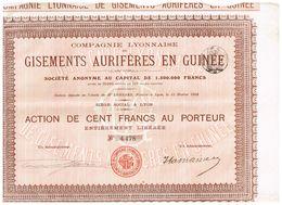 Action Ancienne - Cie Lyonnaise De Gisements Aurifères En Guinée - Titre De 1908 - - Afrique
