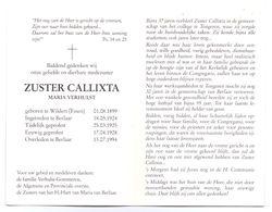 Devotie - Devotion - Zuster Callixta - Maria Verhulst - Widert Essen 1899 - Berlaar 1994 - Esquela