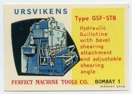 CINDERELLA : SWEDEN / INDIA - URSVIKENS HYDRAULIC GUILLOTINE / PERFECT MACHINE TOOLS CO., BOMBAY - Cinderellas