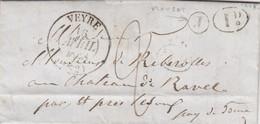 LETTRE. 15 AVRIL 38. PUY DE DOME. VEYRE BOITE RURALE J = PLAUSAT. POUR LE CHATEAU DE RAVEL - Marcophilie (Lettres)
