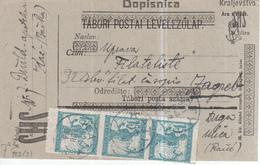 Yugoslavia 1921 Provisoryy Postal Stationery, Upfranked With Chainbreakers Stamps, From Bacska - 1919-1929 Königreich Der Serben, Kroaten & Slowenen