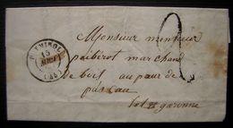 PUYMIROL (Lot Et Garonne) 1849 Lettre D'un Tonnelier Pour Monsieur Péberol, Marchand De Bois Au Port De Pascau - 1801-1848: Précurseurs XIX