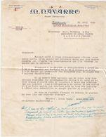"""MARSEILLE _ 1936  /  Fattura-Lettera   """" M. RAVARRO  """" _ Firma - Agricoltura"""