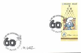Belgium 2018 FDC Signed Myriam Voz, Brainy Smurf, Schtroumph à Lunettes, Bril Smurf, Comics By Peyo - Bandes Dessinées