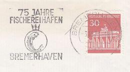 1971 GERMANY COVER SLOGAN Illus FISH 75th Anniv Fischereihafen Bremerhaven , Stamps - Fishes