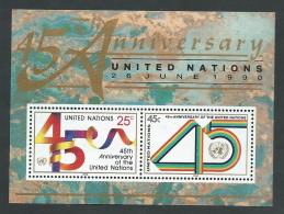 1990 NAZIONI UNITE FOGLIETTO NEW YORK 45 ANNIVERSARIO MNH ** - R50-10 - New York -  VN Hauptquartier
