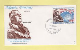 General De Gaulle - FDC Polynesie Francaise - 1990 - FDC