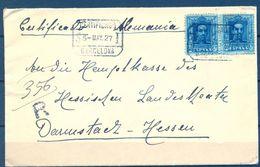 ALFONSO XIII , 1927 , CERTIFICADO , BARCELONA - HESSEN , LLEGADA - 1889-1931 Regno: Alfonso XIII