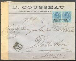 ALFONSO XIII , 1916 , CERTIFICADO , BARCELONA - DOTTIKON , CENSURA ,  LLEGADA - 1889-1931 Regno: Alfonso XIII