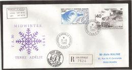 TAAF PA104 Et PO142 Du 21.6.1989 TERRE ADELIE Recommandé.Cachet MIDWINTER Et XXXIXème MISSION - Lettres & Documents