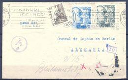 1942 , MADRID - BERLIN , SOBRE DIRIGIDO AL CONSUL DE ESPAÑA , EXENTO DE CENSURA - 1931-Aujourd'hui: II. République - ....Juan Carlos I