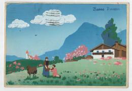 AUGURI  BUONA  PASQUA   1949     (TIMBRO AMG-FTT)     2 SCAN    (VIAGGIATA) - Pasqua