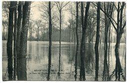 CPA - NOYEN Sur SEINE Le Parc Du Château Le 24 Janvier 1910 ( Crue Inondations ) Verso Cachet Biscuits RAZOUT - Andere Gemeenten