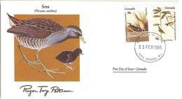 FDC GRENADA  Birds  /  Oiseaux, Lettre De Première Jour, PORZANA CAROLINA - Zangvogels