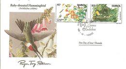 FDC RWANDA  Birds  /  Oiseaux, Lettre De Première Jour, ARCHILOCHUS COLUBRIS - Segler & Kolibris