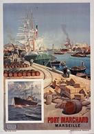 Port Marchand Marseille 1901 - Postcard Reproduction - Publicité