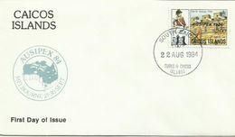 Caicos Islands 1984 Ausipex Souvenir Cover,$ 2.00 - Cocos (Keeling) Islands