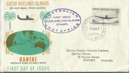 Cocos Islands 1963 First Flight From Cocos To Australia ,souvenir Cover - Cocos (Keeling) Islands