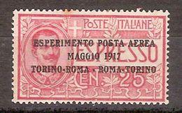 """(Fb).Regno.V.E.III.Posta Aerea.1917.""""Espresso 1 Soprastampato"""" .25c* Rosso Nuovo,ben Centrato (490-16) - 1900-44 Vittorio Emanuele III"""