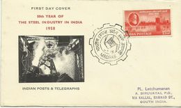 India 1958 Steel Industry 50th Anniversary FDC - FDC