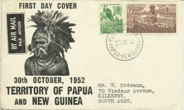 Papua New Guinea 1952 Definitives Half D And 9d  First Day Cover - Papouasie-Nouvelle-Guinée