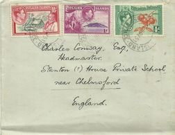 Pitcairn 1940 Definitives Half Penny,one Penny,one And Half Penny, On Addressed Cover,,some Toning - Stamps