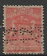 Southern  Rhodesia / BSACo, 1892, 2d Vermillion, Fiscal Used, Perfin 13.12.07 - Rhodésie Du Sud (...-1964)