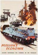 SNCF Puissance Économie 1957 - Postcard - Poster Reproduction - Publicité