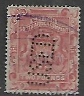 Southern  Rhodesia / BSACo, 1892, £2 Rose-red,  Fiscally Used, Perfin USED - Southern Rhodesia (...-1964)