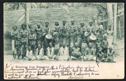 SINGAPORE- Grettings From Singapore -CPA-Groupe Local - 1905- Recto Verso- Paypal Free - Singapour