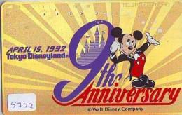 Télécarte Japon /110-123797 - DISNEY - DISNEYLAND - 9 YEARS (5722)  MICKEY MOUSE * Japan Gold Phonecard - Disney