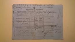 1907 FERROVIE DELLO STATO RICEVUTA REGNO MOLINA-ALFEDENA GRANDE VELOCITA MERCI CASSETTE DI FRUTTA - Spoorwegen