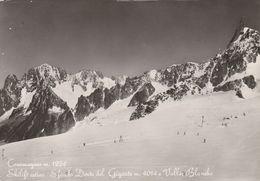 14240) COURMAYEUR SKILIFT ESTIVO SFONDO DENTE GIGANTE VALLE BLANCHE VIAGGIATA - Italy