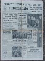 L'Humanité - 9 Mars 1961 Affaire Peugeot - Cantonales - G.P.R.A - J Greco - Orly - 1950 - Today