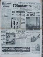 L'Humanité - 17-fev-1961- Massacres Au Sud-Kasai- Daniel Ivernel -Bozon - 1950 - Nu