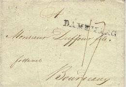 """1805- Letter From Copenhague  To Bordeaux ( France )  Entr. """" DANEMARC """"  47 Mm Black  Rating 17 D. - Danimarca"""