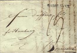 "1806- Letter From Germany To Bordeaux ( France ) "" Fco Hamburg ""  Entr. "" BASSE. SAXE  "" 32 Mm Black  -rating 19 D - Danimarca"