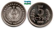 Ouzbékistan - 5 Som 1999 (UNC) - Uzbenisktán