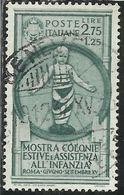 ITALIA REGNO ITALY KINGDOM 1937 COLONIE ESTIVE E INFANZIA LIRE 2,75 + 1,25 USATO USED OBLITERE' FIRMATO SIGNED - 1900-44 Vittorio Emanuele III