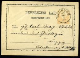 MEDGYES 1874. Régi Díjjegyes Lap, Szép Bélyegzéssel - Usado